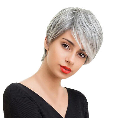 Silver Grey With Cap Full Wig Short Wig with Side Bangs Human Hair Heat Safe