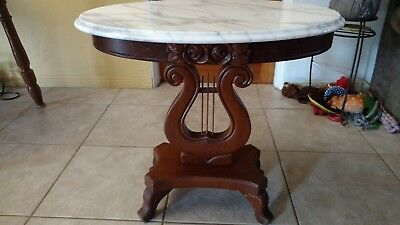 Antique Carlton McLendon mahogany Italian Marble Wood Harp Table