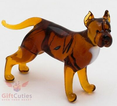 Art Blown Glass Figurine of the American Pit Bull Terrier dog