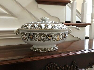 Antique Wedgwood Brown Transferware Soup Tureen with Ladle
