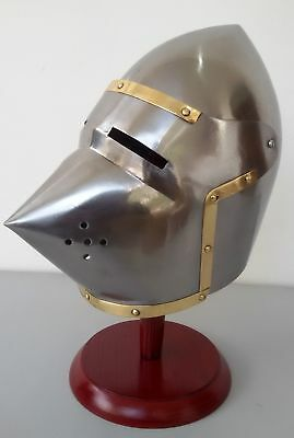 Armour King Medieval Leonidas Pig Face Helmet With Wooden Stand & Leather Liner