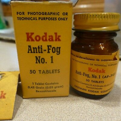 Kodak Anti Fog tablets new in glass bottle benzotriazole Photography