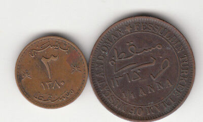 1315,1380 Muscat Oman Lot Of Two Coins 1/4Anna,and 3B.