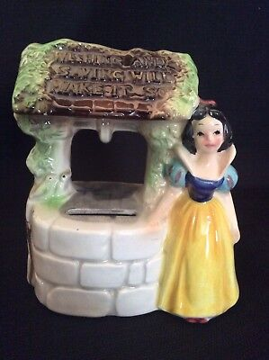 Enesco Japan Walt Disney 1970s SNOW WHITE Wishing Well Ceramic Bank RARE