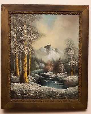 WINTER MOUNTAIN RIVER Painting OIL on CANVAS 16x20 Framed Vintage ...