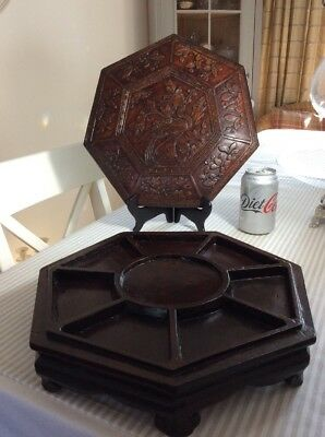 Large Antique Chinese Hand Carved Wooden Box, Import Stamped