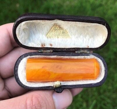 VERY FINE Cased Antique Natural Baltic Butterscotch Amber Cigarette Holder Pipe