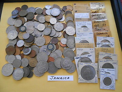 World Coin Lot:  185 Foreign Coins from Jamaica