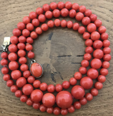 STUNNING Antique Mediterranean AKA Red Coral Beads Necklace Beautiful!