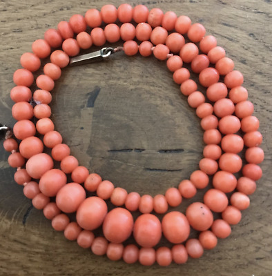 STUNNING Antique Mediterranean Coral Beads Necklace Beautiful!
