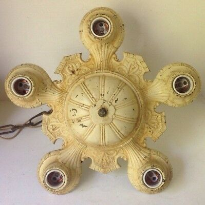 Art Deco Cast Iron 5 Lite Hanging Ceiling Light Lamp Fixture Antique To Restore
