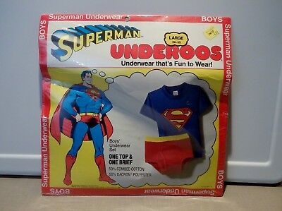 Vintage 1980 Superman Underoos Underwear That's Fun To Wear New Old Stock Large