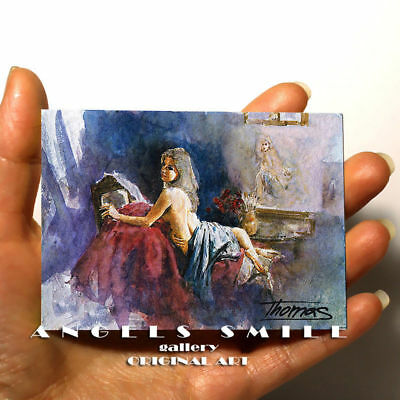 """ORIGINAL HAND PAINTING DRAWING ART WATERCOLOR PICTURE ACEO FEMALE """"Nude Woman"""""""