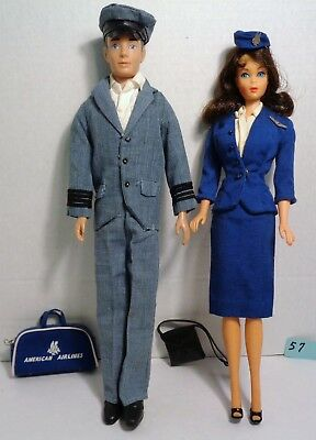 Vintage Brunette Marlo Flip Barbie and Ken in Stewardess & Captain Outfits # 57