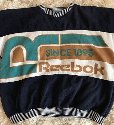 Reebok Sport Spell Out LARGE Pullover VINTAGE sweater Color Block 90's