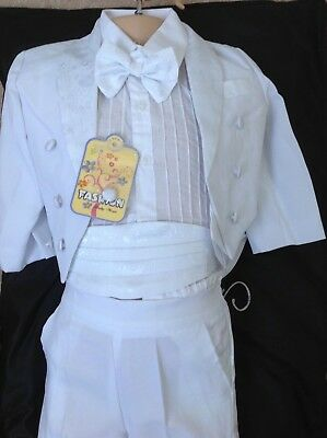 BOYS 5 PCS TUXEDO CHRISTENING TAIL SUIT PAGE BOY COMMUNION OUTFIT SUITS-2years