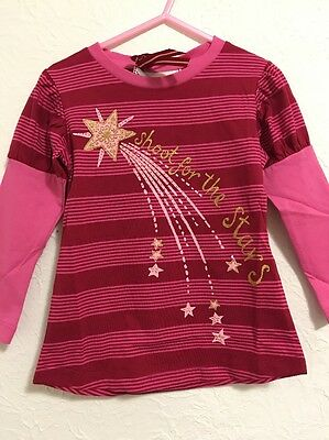 Nwt Shoot For The Stars Pink and Red Tee by Paper Wings sz 3 Organic Tee