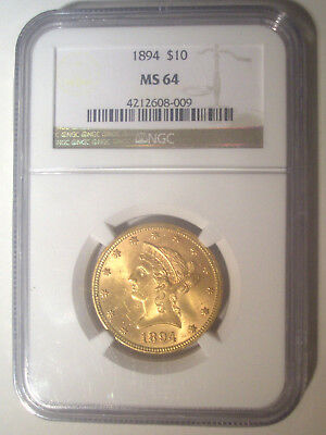 1894 $10 GOLD * NGC MS64 * LIBERTY HEAD EAGLE Dollar * $1,525++++ ONLY 15 Higher