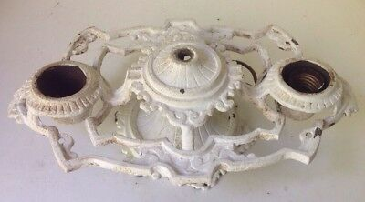 Antique Cast Iron 2 Lite Ceiling Lamp Light Fixture To Restore.