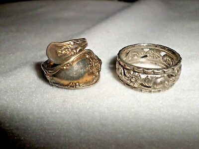Vintage Silver Spoon Ring & Sterling Band