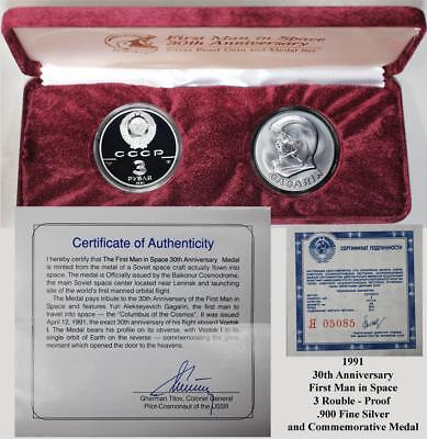 1991 First Man in Space-30th Anniv-2 Coin Set-Proof 3 Ruble & Baikonur Medal OGP