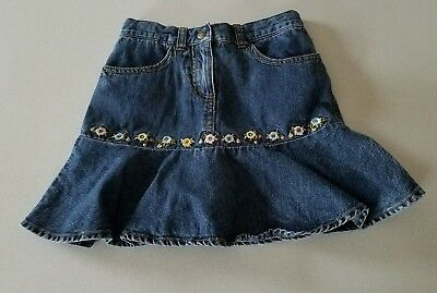 Girls Youth Gymboree Blue Jean Skirt Shorts Adjustable Waist Floral Size 6