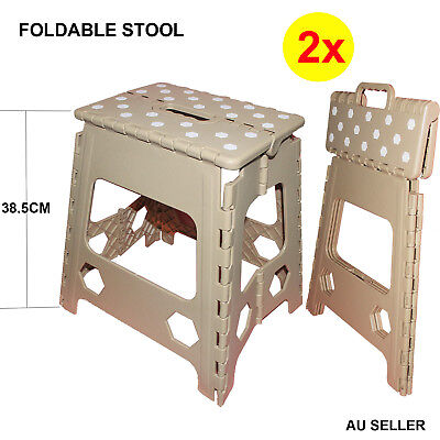 2x 38cm Height Folding Stool Portable Chair Plastic Foldable Step Flat Outdoor
