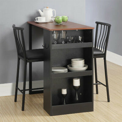 COUNTER HEIGHT DINING Set 3 Piece Kitchen Home Furniture Bar Pub ...