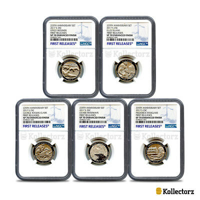2017 225Th Anniv. 5-Coin Set 25C Ngc Sp70 Enhanced Finish First Releases Blue!!!