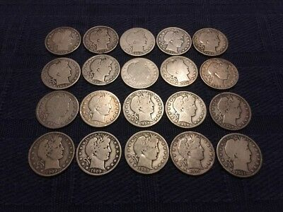 Barber Half Dollar Roll of 20 Circulated Silver Coins - Mixed Dates & Mints