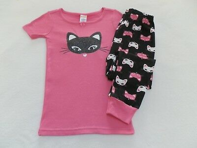 NEW! Gymboree Girls Kitty Cat Summer Pajamas Gymmies size 4 or 5 Pink Black