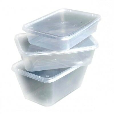 """FOOD CONTAINERS + LIDS """"MICROWAVE SAFE"""" Clear Plastic Takeaway Storage Tubs/Box"""