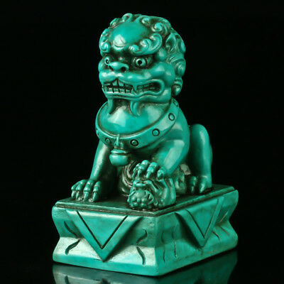 Chinese Turquoise Hand-carved Lion Statue R4031