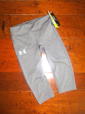 NEW Boutique Under Armour Girls Sz XS Gray Crop Leggings Athletic Sporty $29