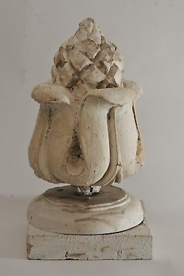 Antique Wood Architectural Salvaged Pinecone Pineapple Shabby Painted White