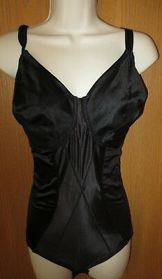 CUPID vintage BODYSHAPER control slimming BLACK GLOSSY wire free bust cups 40 D