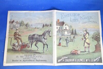 Antique Excelsior Lawn Mower Horse & Hand Power Advertising Brochure Hard 2 Find