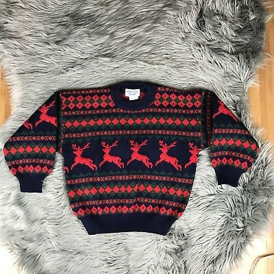 VTG 80s Rugged Bear Sz Small Christmas Holiday Reindeer Argyle Blue Red Sweater