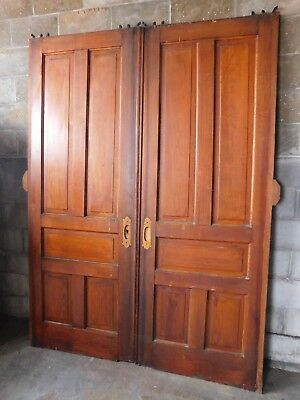 Antique Victorian Style Double Pocket Doors - C. 1890 Fir Architectural Salvage