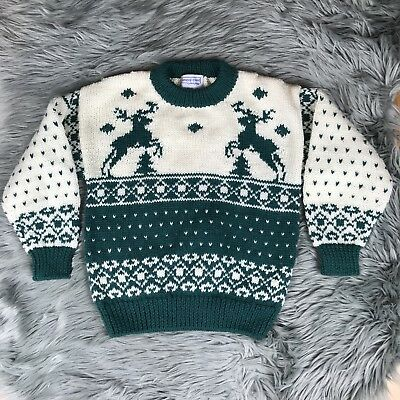 VTG 80s One Of A Kind Small Christmas Holiday Beige Green Reindeer Wool Sweater