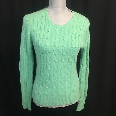 Saks Fifth Avenue Womens Large L Green Cable Knit 100 Cashmere