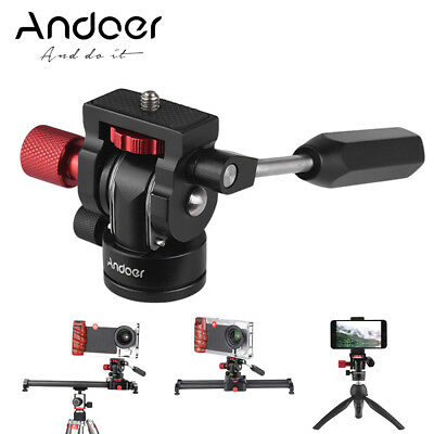 Andoer DSLR Camera Video Tripod Fluid Drag Pan Ball Head Stabilizer 360° Mount