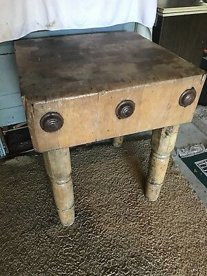 Antique/Vintage Solid Maple BUTCHER BLOCK TABLE