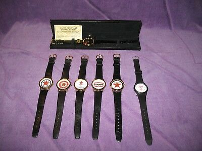 7 Texaco Collector Watches, 6 made by Image and 1 made by Timex
