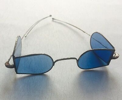 Antique Silver Tone  Civil War D-frame Blue Lenses with Turn Pin Temples w/ CASE