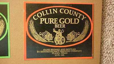 Old Usa American Beer Label, Reinheitgebot Brewing Plano Texas, Pure Gold Beer