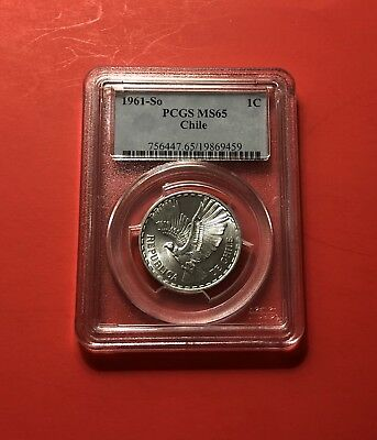 1961-So-Uncirculated Chile 1 Centesimo,geaded By Pcgs Ms65..