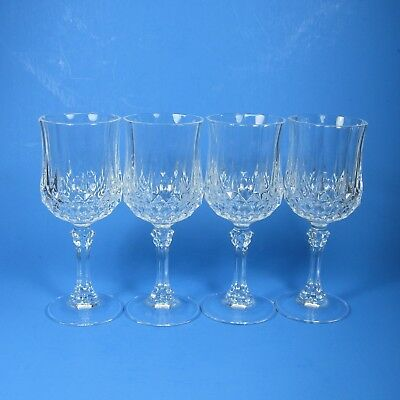"Cristal d'Arques LONGCHAMP 6.5"" Wine Glasses Set of 4 Crystal Glass Clear"
