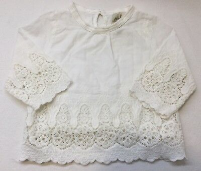 Peek Baby Girl Shirt White Lace Size 6-12 Months