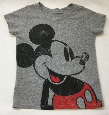 "Disney Toddler Girl T-Shirt Gray ""Mickey"" Size 18-24 Months"